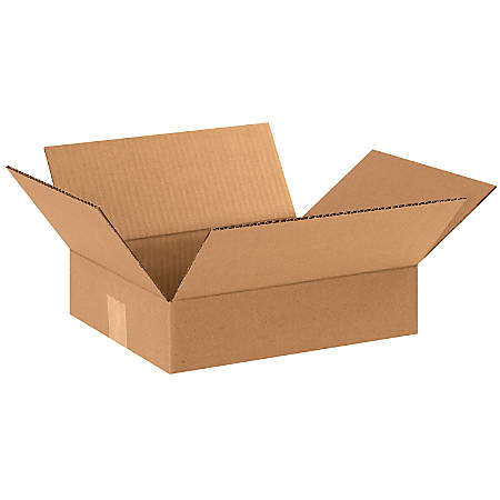 "Office Depot® Brand Flat Corrugated Boxes, 12""L x 10""W x 3""H, Kraft, Pack Of 25"