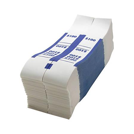 Sparco Kraft Paper ABA Bill Straps, $100, Blue/White, Box Of 1,000
