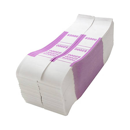 Sparco Kraft Paper ABA Bill Straps, $2,000, Violet/White, Box Of 1,000