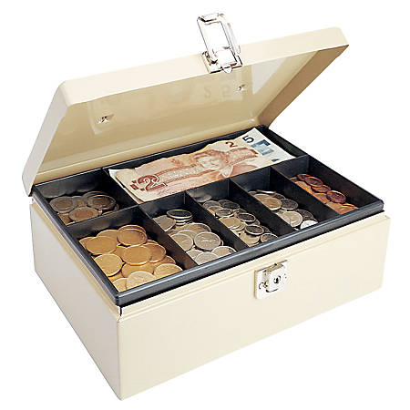 STEELMASTER® Cash Box with Locking Latch, 7 Compartments, Sand
