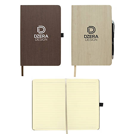 """Woodgrain Look Notebook, 5 1/2"""" x 8 1/2"""", 80 Pages (40 Sheets), Assorted Colors"""