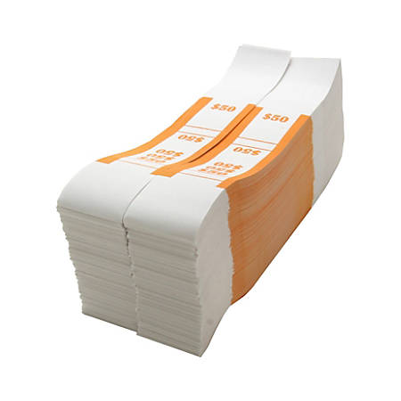 Sparco White Kraft ABA Bill Straps, $50, Orange/White, Box Of 1,000