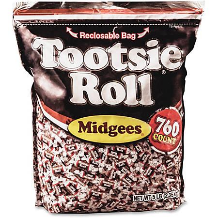 Tootsie Advantus Roll Midgees Candy - Chocolate - Individually Wrapped, Gluten-free, Peanut-free - 5 lb - 1 Bag
