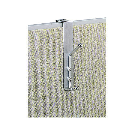 """Safco® Over-The-Panel Double-Garment Coat Hook, 8-1/2""""H x 1-1/2""""W x 4-1/4""""D, Silver"""