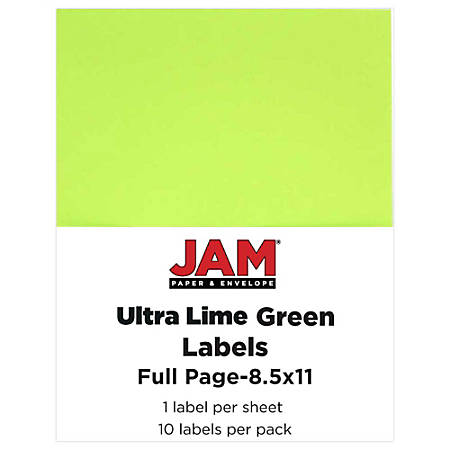 "JAM Paper® Full-Page Mailing And Shipping Labels, 337628608, 8 1/2"" x 11"", Green, Pack Of 10"