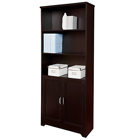Reale Magellan Collection 5 Shelf Bookcase With Doors Espresso