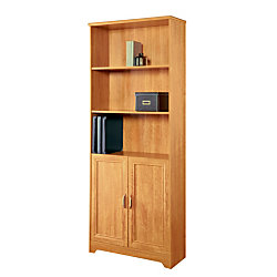 "Realspace® Magellan 72""H 5-Shelf Bookcase With Doors, Honey Maple"