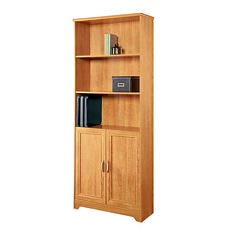 Reale Magellan Collection 5 Shelf Bookcase With Doors Honey Maple