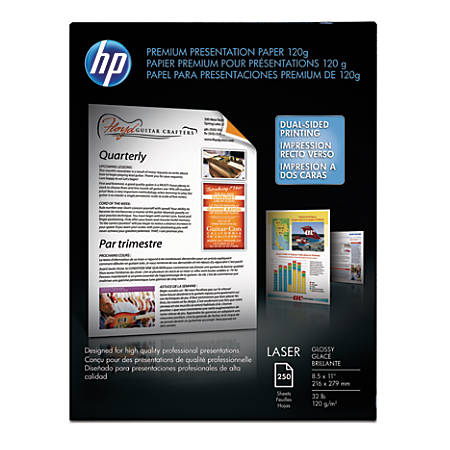 "HP Premium Presentation Laser Paper, 8 1/2"" x 11"", 32 Lb, Pack Of 250 Sheets"
