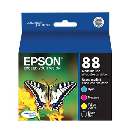 Epson DURABrite® Ultra T088120-BCS Black/Cyan/Magenta/Yellow Ink Cartridges, Pack Of 4