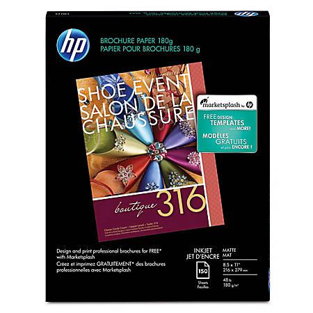 "HP Brochure Inkjet Paper, 8 1/2"" x 11"", Pack Of 150 Sheets"
