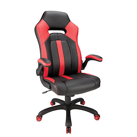 Realspace® High-Back Gaming Chair, Red/Black