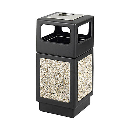 "Safco® Plastic/Stone Aggregate Receptacle, 38 Gallons, 39"" x 18 1/4"" x 18 1/4"", Black"