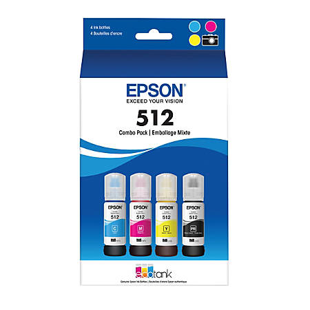 Epson® T512520-S Cyan/Magenta/Photo Black/Yellow Ink Bottles, Pack Of 4