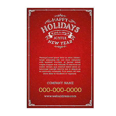 Adhesive Sign Template, Vertical, Red Holiday