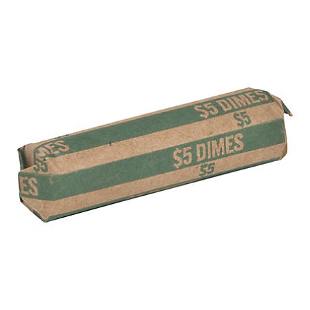 Sparco Flat Coin Wrappers, Dimes, $5.00, Green/Kraft, Box Of 1,000