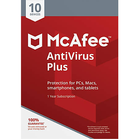 McAfee® Antivirus Plus, For PC, Apple® Mac®, iOS And Android, 10 Devices, 1-Year Subscription, eCard