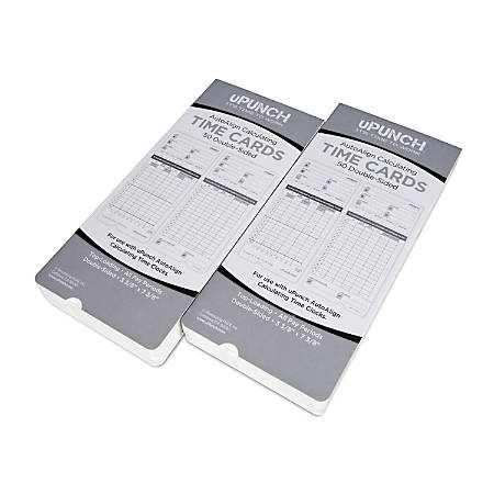"""uPunch Time Cards, 2-Sided, 3.5"""" x 7.5"""", Gray, Pack Of 100, HNTCL2100"""