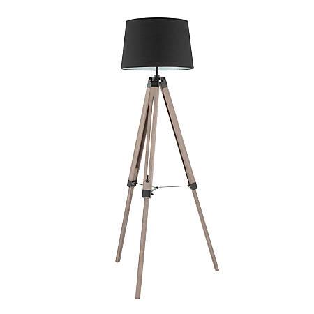 Lumisource Compass Mid-Century Modern Floor Lamp, Grey Washed Wood/Black Shade