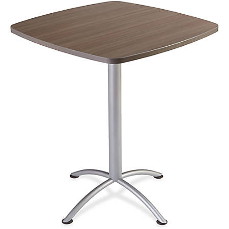 "Iceberg iLand 42""H Square Bistro Table - Square Top - 36"" Table Top Length x 36"" Table Top Width x 1.13"" Table Top Thickness - 42"" Height - Assembly Required - Laminated, Teak - Particleboard"