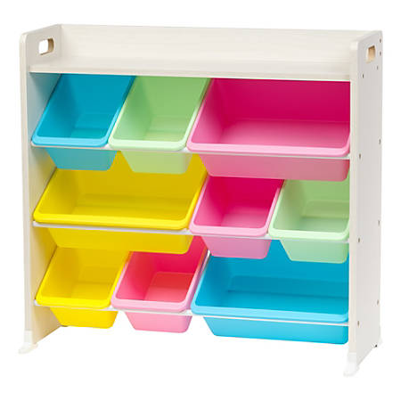 "IRIS 3-Tier Storage Bin Rack With Shelf, 31-5/16""H x 34""W x 13-3/4""D, Pastel Multicolor"