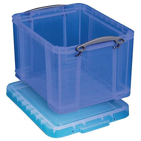 "Really Useful Box® Plastic Storage Box, 32 Liters, 12""H x 14""W x 19""D, Blue"