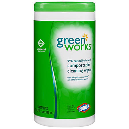 Green Works® Naturally Derived Compostable Cleaning Wipes, Container Of 62