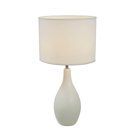 "Simple Designs Bowling Pin Base Table Lamp, 19""H, Off-White Shade/Off-White Base"