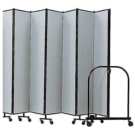 """Screenflex Portable Room Partition Divider, 72""""H x 245""""W, Gray"""