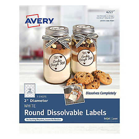 """Avery® Dissolvable Labels, 4227, Round, 2"""", White, Pack Of 60"""