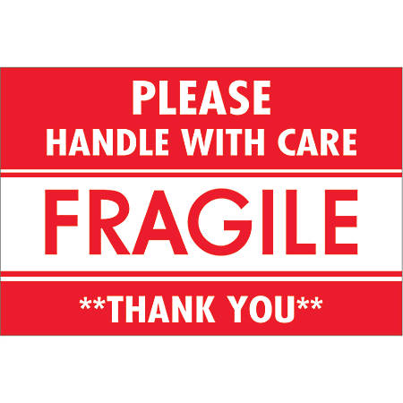 """Tape Logic® Preprinted Shipping Labels, DL2157, Fragile — Please Handle With Care — Thank You, Rectangle, 2"""" x 3"""", Red/White, Roll Of 500"""