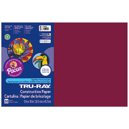 "Tru-Ray® Construction Paper, 50% Recycled, 12"" x 18"", Burgundy, Pack Of 50"