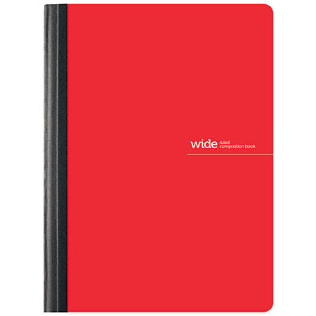 "Office Depot® Brand Poly Composition Book, 7 1/2"" x 9 3/4"", Wide Ruled, 160 Pages (80 Sheets), Red"