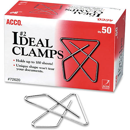 Acco Ideal Butterfly Clamps - No. 2 - 100 Sheet Capacity - for Office, Home, School, Document, Paper - Sturdy, Tear Resistant, Bend Resistant, Flex Resistant - 150 / Pack - Silver