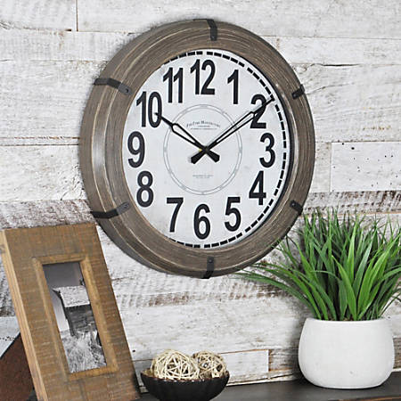 "FirsTime® Rustic Wall Clock, 14"" x 2"", Natural"