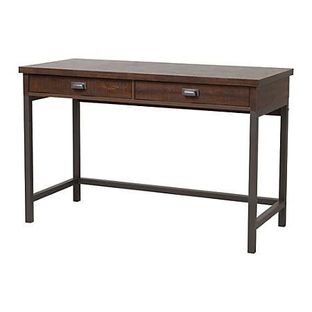 Homestar North America 2-Drawer Desk With Hutch, FSC® Certified, Dark Brown
