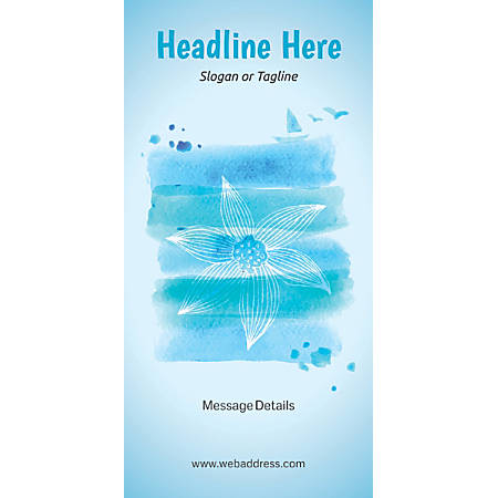 Custom Vertical Display Banner, Blue Spa Flower