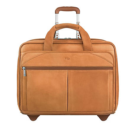 "Solo® Walker Leather Rolling Case for 15.6"" Laptops, Tan"
