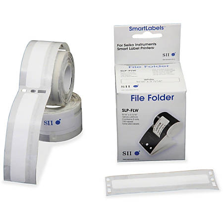 "Seiko SmartLabel SLP-FLW File Folder Labels, SKPSLPFLW, 9/16""W x 3 7/16""L, Rectangle, 25/32"" Core, Direct Thermal, White, Paper , 130 Per Roll"