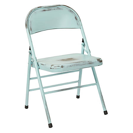 Office Star™ Bristow Steel Folding Chairs, Antique Sky Blue Distressed, Set Of 2 Chairs