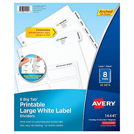 Avery® Big Tab™ Printable Large Label Dividers, Easy Peel®, White, 8-Tab, Pack Of 20 Sets