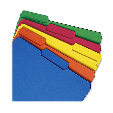 Smead® 1/3-Cut Tab Interior Folders, Letter Size, Assorted Colors, Box Of 100
