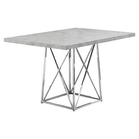 "Monarch Specialties Elizabeth Dining Table, 31""H x 48""W x 36""D, Gray Cement"