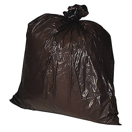 Genuine Joe Heavy-Duty Trash Bags, 30 Gallons, Brown, Box Of 100