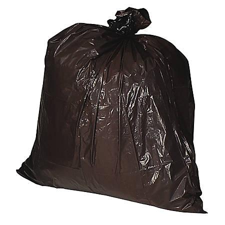 Genuine Joe Heavy-Duty Trash Bags, 33 Gallons, Brown, Box Of 100