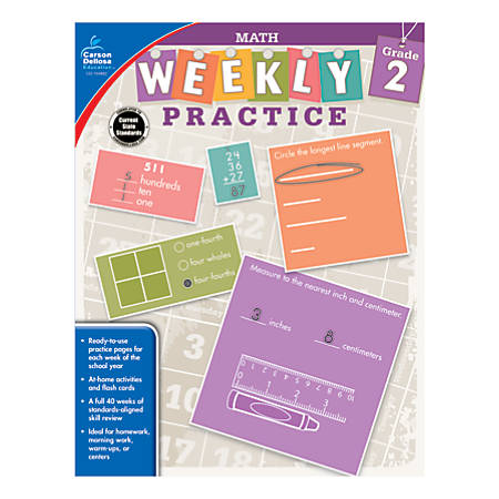 Carson-Dellosa™ Math Weekly Practice Workbook, Grade 2