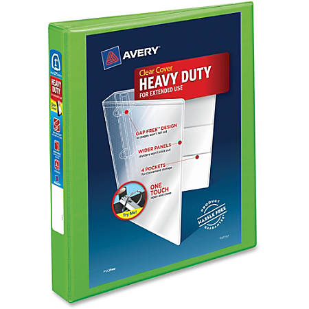 """Avery® Heavy-Duty View Binder With Locking EZD Rings, 1"""" Rings, 42% Recycled, Chartreuse"""