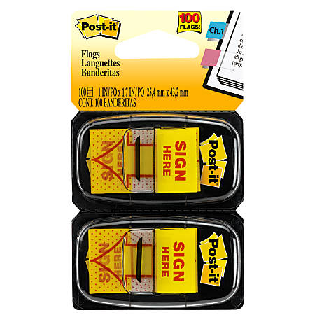 "Post-it® Notes Sign Here Printed Flags, 1"" x 1-7/10"", Yellow, 50 Flags Per Pad, Pack Of 2 Pads"