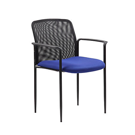 Boss Office Products Stackable Mesh Guest Chair, Blue/Black