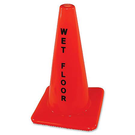 "Impact Products Wet Floor Orange Safety Cone - 1 Each - Wet Floor Print/Message - 18"" Height - Cone Shape - Heavy Duty - Vinyl - Orange"